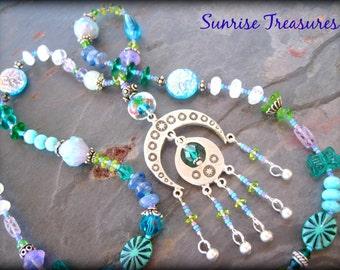 Long Czech Glass and Gemstone Bohemian Necklace, Beaded Tassel Pendant, Pastel Blue/Green/Lavender/Lilac, Handmade Art Jewelry