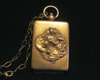 Art Nouveau Locket Antique Chatelaine Compact Circa 1890s Gold Fob