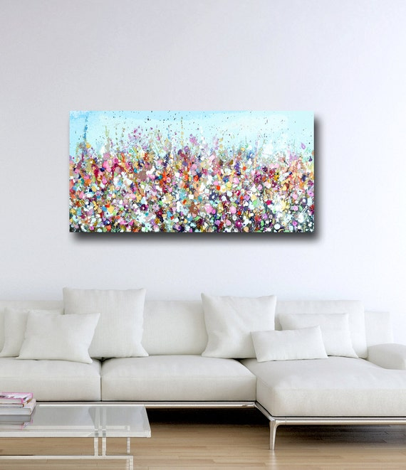 Large Panoramic Canvas Art Floral Wall Art Pink And Blue