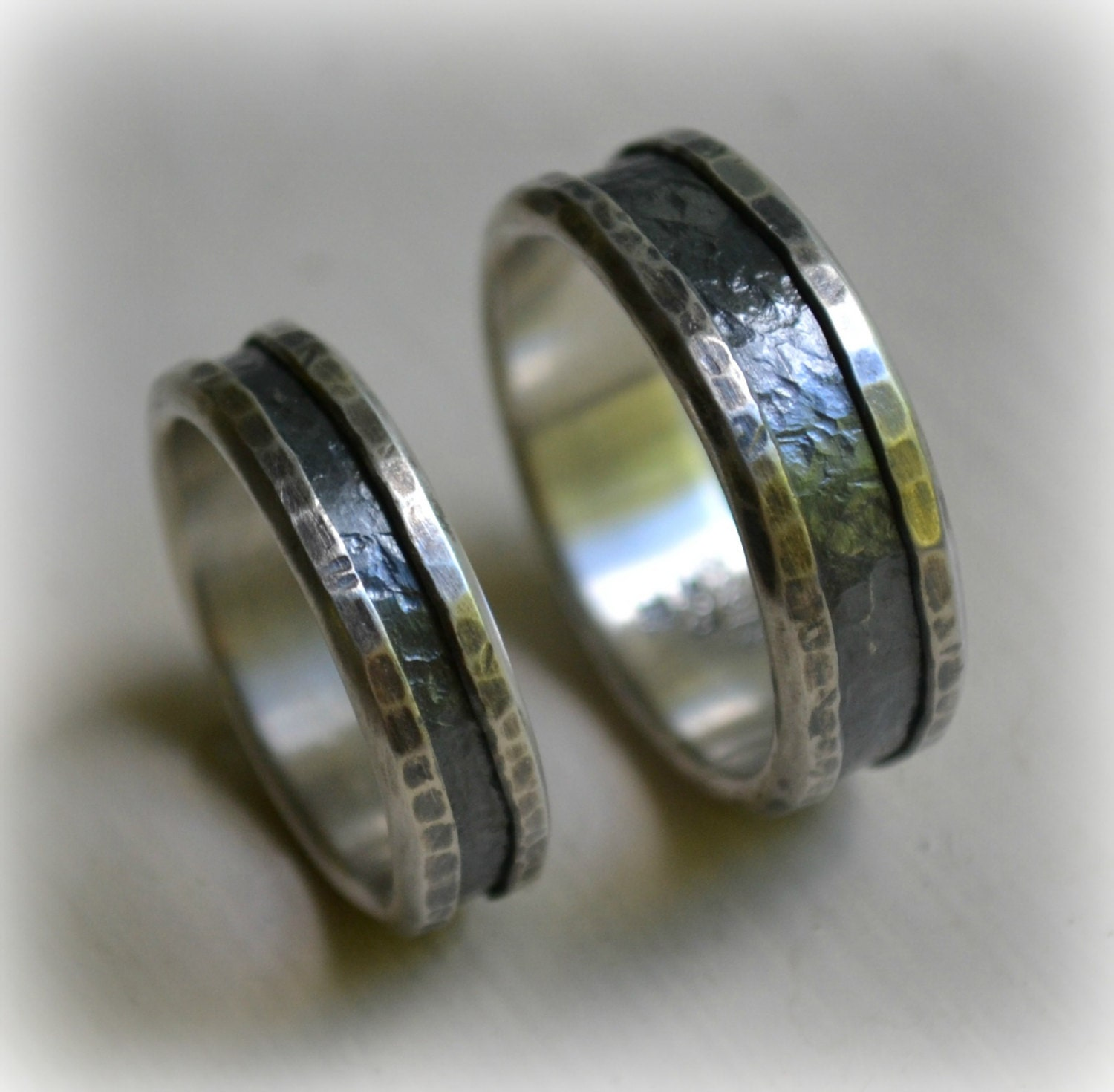 Rustic Silver Wedding Ring Set Handmade Artisan Designed
