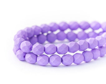 Matte Saturated Purple Czech Glass Beads, Opaque Faceted Fire Polished Round Spacers (6mm) x 25