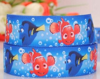 """3 yards 22 mm ( 7/8"""" ) Grosgrain Ribbon Finding Nemo Printed Ribbon Hair bow ribbon Sewing Ribbon Scrapbook A157"""