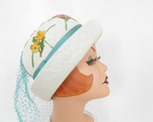 1960s vintage hat, white with flowers, spring summer Julie Kay Chicago