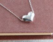 SALE, Heart Necklace, Sterling Silver Heart Necklace, Tiny Heart Necklace, Heart Jewelry, Silver Heart Necklace, Gift for Women