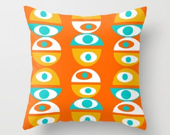 Geometric Pillow Cover, Modern Pillow Cover, Orange  Pillow Cover, Retro Pillow Cover, MidCentury Modern Pillow Cover, Cool Pillow Cover,
