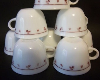 Vintage Pyrex Corning Burgundy Rose Set of 8 Milk Glass Coffee Tea Cups