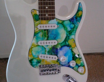 Hand painted electric guitar
