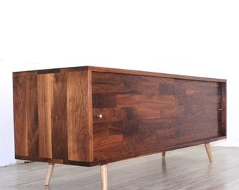 Limited Discount Walnut Mid Century Media Console With Mix Walnut Sliding Doors