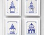 Blue Pagoda Print Set, Chinoiserie Wall Prints, Pagoda Wall Art, Chinese Pagoda Illustration, Far East Art