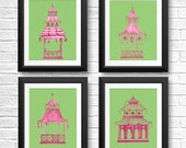 Pink Pagoda Print, Chinoiserie Prints, Hollywood Regency Decor, Pagoda Painting, Preppy Wall Art,  Chinese Pagoda,  Eastern Art, Set Of 4