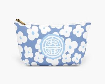 Blue Toiletry Organizer Bag, Blue Make Up Bag, Blue Medallion Weave Designer Cosmetic Bag, Bridesmaid Gift, Gift For Her, Make Up Pouch