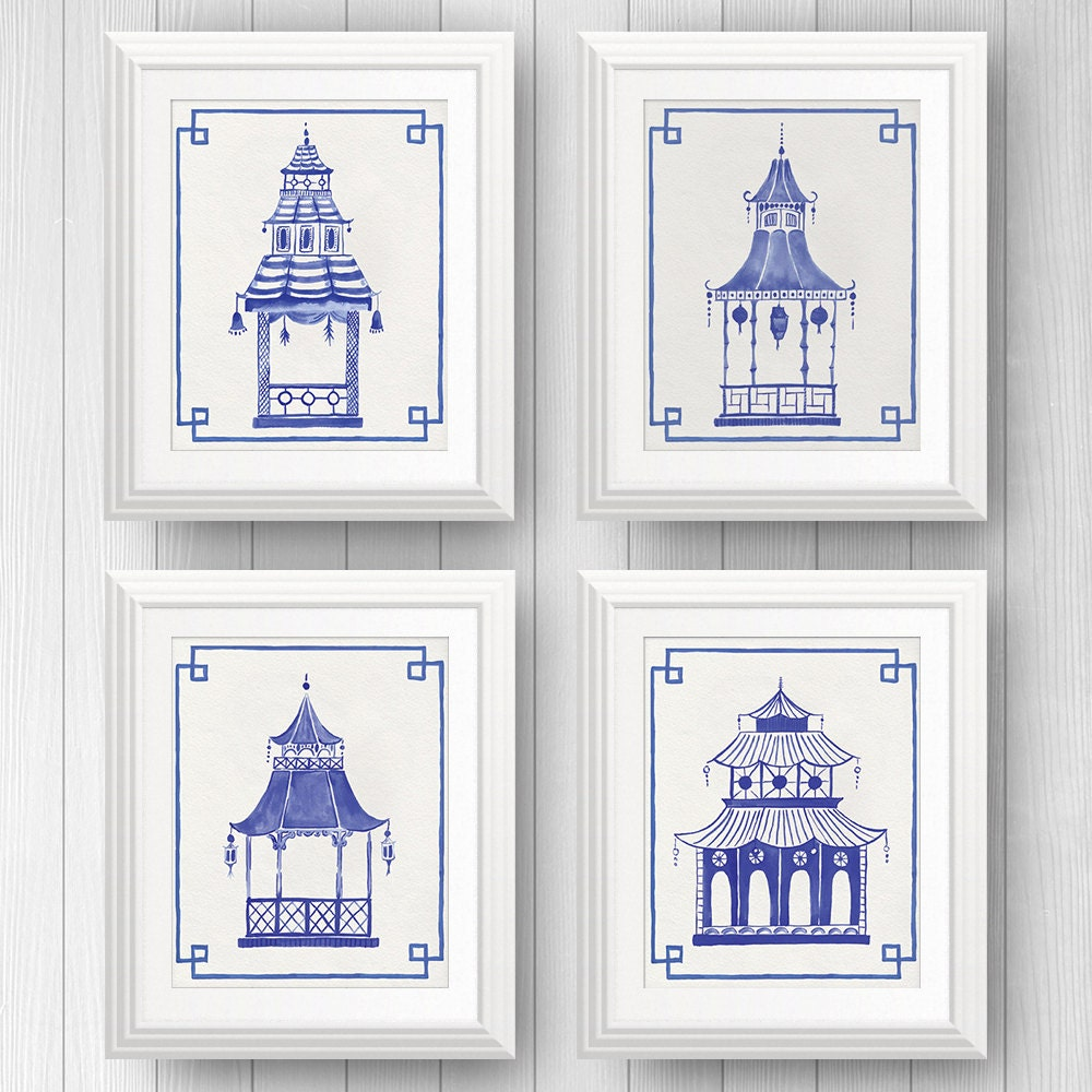 Preppy Art, Blue Pagodas, Blue and White Decor, Pagoda Painting, Chinoiserie Art, Ginger Jar, Chinese Lantern, Asian Art, Palm Beach Style