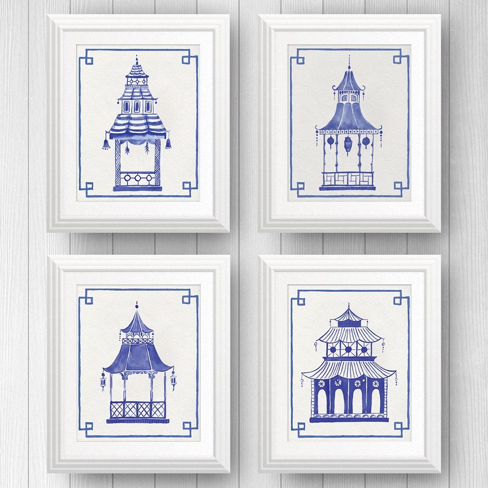 Preppy Art, Blue Pagodas, Blue and White Decor, Pagoda Painting, Chinoiserie Art, Ginger Jar, Chinese Lantern, Asian Art, Palm Beach Style