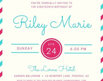 Retro Mail-Inspired Invite, fully customizable, digital download