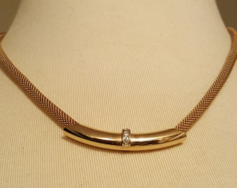 Vintage 1980s AVON Gold Tone Mesh Rope Necklace with Gold Tone & Rhinestone Slide Pendant