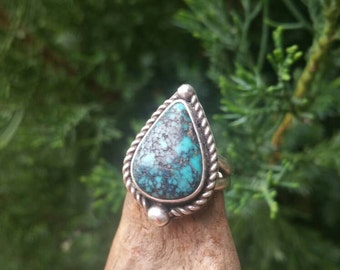 Blue Diamond Turquoise and Sterling Silver Ring Size 6