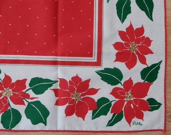 "Tablecloth by VERA NEUMANN Red Poinsettia Christmas 52"" Square UnUsed"