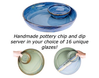 Hand thrown pottery chip and dip dish with attached bowl in your choice of glaze! Party platter / serving dish / MADE TO ORDER-Allow 8 weeks