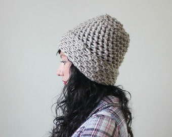 SALE Handmade crochet wide brim beanie - soft taupe