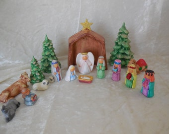17 Piece Hand Painted Ceramic Nativity with Stable and Trees, Ceramic Hand Made Nativity, Ceramic Handpainted Nativity