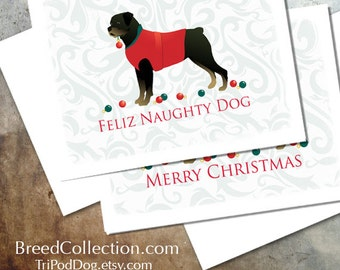 Rottweiler Christmas Card from the Breed Collection - Digital Download Printable