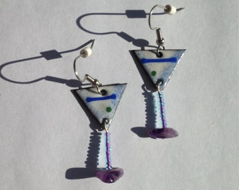Enameled Martini earrings / Food Art / Copper Enamel Food Jewelry / Enamel Jewelry