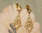 Clip on or Pierced Lightweight Gold Elegant Filigree Dangle Earrings