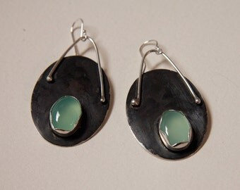 oxidized sterling silver earrings with aqua chalcedony
