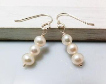 Trio Freshwater Pearl Sterling Silver Earrings. Everyday Jewelry by smoketabby.