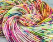 "RTS- ""Sprinkles!"", OOAK, Hand Dyed, Superwash Merino Wool, Yarn, Worsted, Knitting, Crochet, Rainbow, Speckled, Neon"