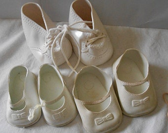 3 Pairs VINYL DOLL SHOES 2 White Mary Jane Slip Ons, 1 Hi Top with Laces, Vintage Dolly Dressing Outfit Supplies Usa Made