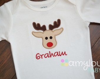 Rudolph Reindeer Christmas Baby BODYSUIT - Personalized - Boy -  First Christmas