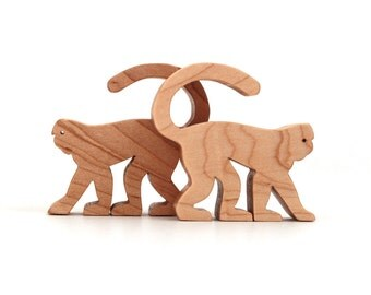 Wood Toy Monkey Miniature Wooden Noah's Ark Animals Zoo Play Set Wooden Monkey Figurine Miniature Monkey Wood Waldorf Toy Animals