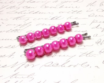 Magenta Pink Pearl Beaded Bobby Pins. Pink Pearl Hair Pins. Classic Everyday Hair Accessories.