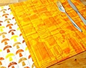 Quilted Placemats, Retro Placemats, Orange Placemats, Retro Table, Kitchen Utensils, Mushrooms, Fabric Placemats, Retro Decor