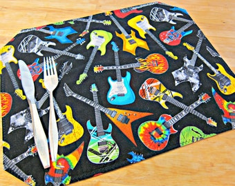 Quilted Placemats, Guitar Placemats, Guitar Decor, Black Placemats, Music Placemats, Music Decor, Guitar Hero Decor, Gifts for Him