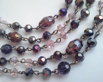 36 Inches Amethyst Oval Beads, Antique Gold Beads, AB 6 mm, 8 mm Purple and AB Pink Glass Bead Chain. Brass Loops Chain, DIY  Craft Supply.