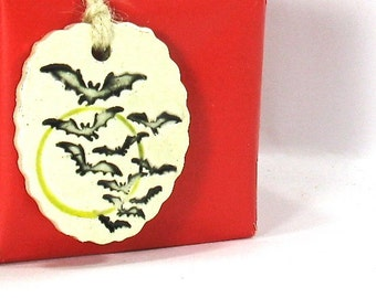 Ceramic Gift Tag / Ceramic Ornament - Bats Over the Full Moon, Halloween Gift Tag (OOAK Focal Pendant, Ceramic Keychain, Ceramic Necklace)