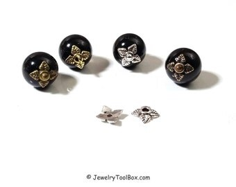 Leaf Bead Caps, 4 Petal Leaves, Choose Antique Silver, Copper, Gold or Bronze, 6x6x2mm, 1mm hole, Lot Size 100 to 500, #2021