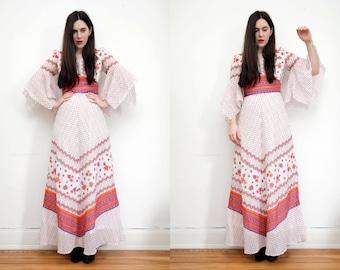 Vintage Floral Hippie Kimono Kaftan Angel Sleeve Boho Maxi Dress 70's