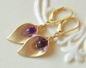Gold Calla Lily Earrings, Purple Kunzite Quartz Gemstones, Semiprecious Stone, Vermeil, Floral Flower Jewelry, Free Shipping