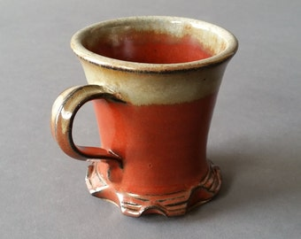 Skirted Mug with Feet Tuscan Sunset Rust Red Handmade Pottery Footed