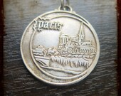 Vintage French Medal with Notre Dame de Paris Cathedral  - Parisian souvenir Jewelry pendant from France
