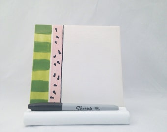 Watermelon Dry Erase Message Board Ceramic Tile with Optional Wooden Stand and Dry Erase Marker