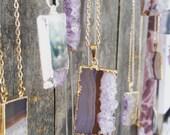 Amethyst Slice Necklace // Amethyst Quartz Crystal // Quartz Jewelry