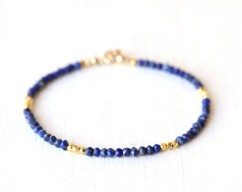 Lapis and Gold Nugget Bracelet  / Stackable Gemstone Bracelet