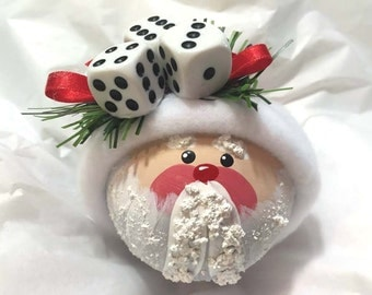 Santa Bunco Christmas Ornaments Hand Painted White Glass Handmade Personalized Themed by Townsend Custom Gifts - BackRoom