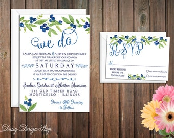 Wedding Invitation - Watercolor Style Blueberries and Greenery - Invitation and RSVP Card with Envelopes
