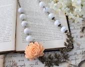 White Marble Necklace Peach Flower necklace Floral Statement necklace Summer Garden Asymmetrical Necklace Boho Vine necklace - Winter Bloom