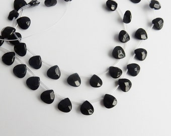 6pcs Black onyx, faceted ,heart  briolette beads (12x12mm)